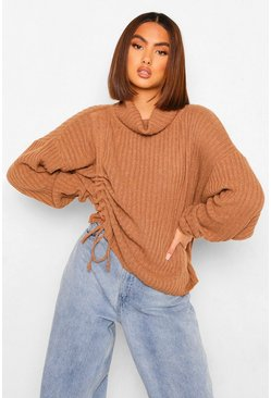 Rust orange Roll Neck Ruched Side Chunky Jumper