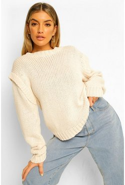 Shoulder Detail Chunky Jumper, Ecru weiß