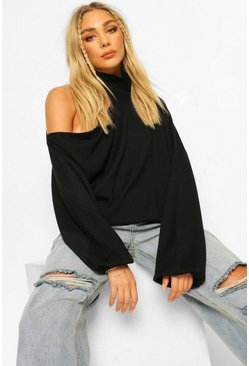 Roll Neck Cut Out Detail Jumper, Black negro