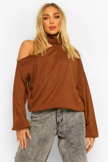 Chocolate brown Roll Neck Cut Out Detail Jumper