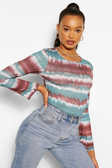 Teal green Soft Knit Flare Sleeve Knitted Top