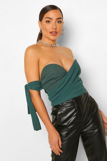Teal green Green Chiffon Ruched Draped Sleeve Corset Top