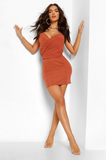 Rust orange Chiffon Ruched Sweetheart Neck Corset Dress