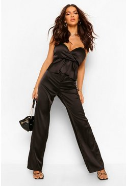 Black High Waisted Wide Leg Satin Trousers