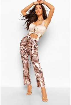 Brown Marble Print Satin Split Front Trousers