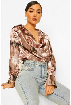Brown Marble Print Satin Cowl Neck Blouse