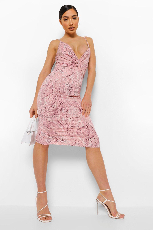 DRESSES Marble Print Twist Front Midi Dress