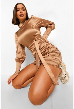 Champagne beige Satin High Neck Ruched Mini Dress