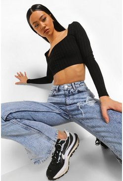 Black Recycled Tie Back Ribbed Crop Top