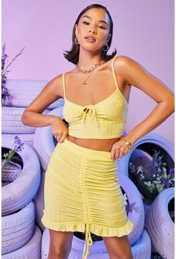 Lemon yellow Recycled Ruched Front Ribbed Mini Skirt