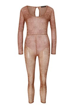 Mocha Croc Print Mesh Scoop Neck Unitard