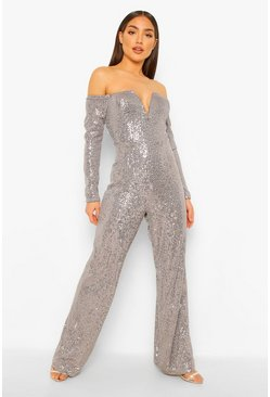 Silver Sequin Off The Shoulder Plunge Wide Leg Jumpsuit