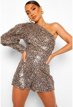 Gold Leopard Sequin One Shoulder Volume Sleeve Playsuit