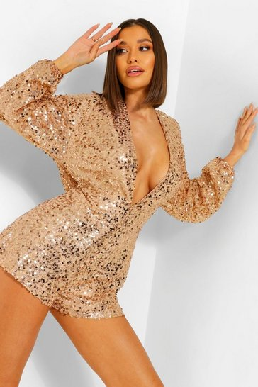 Gold metallic Sequin Plunge Front Cowl Back Playsuit