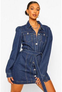 Dark blue blue Denim Puff Sleeve Belted Denim Dress