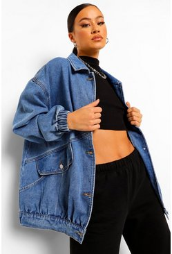 Mid blue blue Oversized Slouchy Longline Denim Jacket