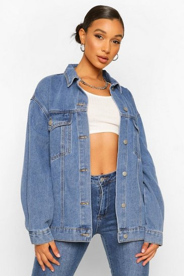 Mid blue blue Extreme Oversized Volume Sleeved Denim Jacket