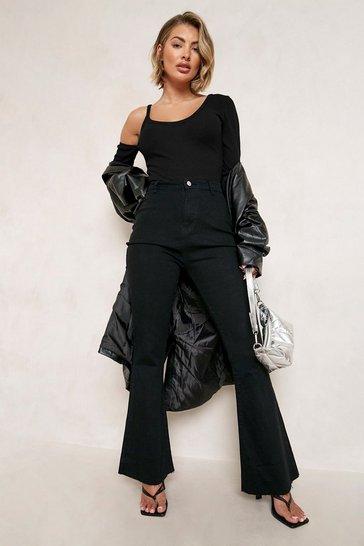 Black Stretch Denim Flare Jeans