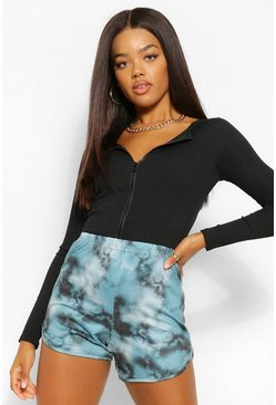 Teal green Soft Knit Tie Dye Racer Short