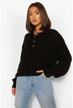 Black Balloon Sleeve Polo Collar Oversize Sweater