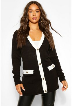 Black Gold Button Midi Cardigan