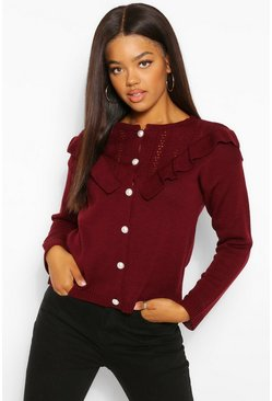 Berry red Pearl Button Ruffle Detail Cardigan