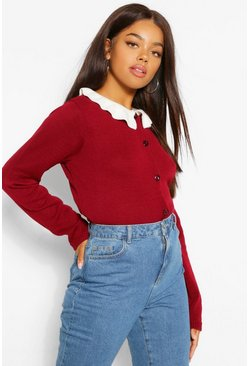 Berry red Pearl Button Frill Collar Cardigan
