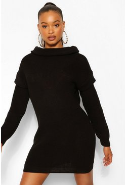 Black Shoulder Detail Jumper Dress
