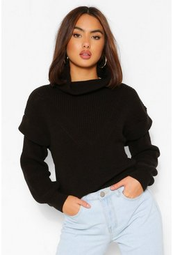 Shoulder Detail Jumper, Black schwarz