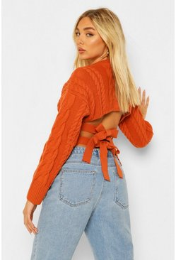 Lace Up Back Cable Knit Jumper, Rust naranja