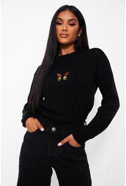 Black Butterfly Embroidered Jumper