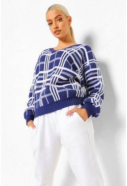 Blue V Neck Trim Check Oversized Jumper