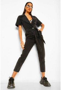 Black Wrap Plunge Belted Jumpsuit