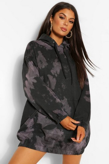 Black Tie Dye Denim Hooded Dress