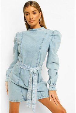 Blue Acid Wash Tie Waist Denim Dress