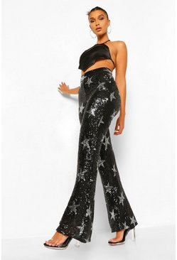 Black Star Sequin Flared Trousers