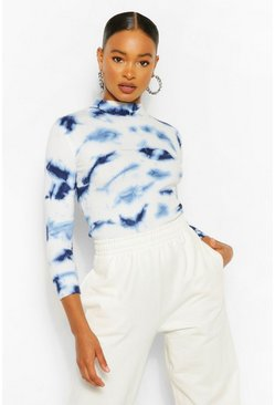 Blue Tie Dye Rib Knit Jumper