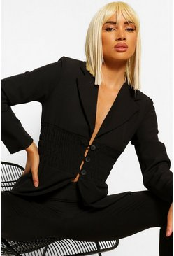Black Tailored Shirred Waist Button Blazer