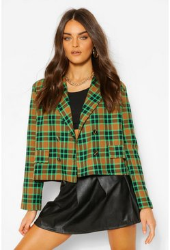 Green Check Boxy Double Breasted Pocket Blazer