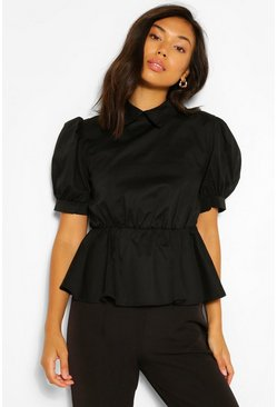 Black Cotton Poplin Collar Smock Top