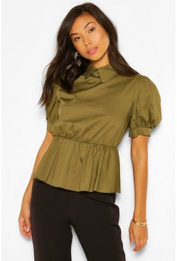 Khaki Cotton Poplin Collar Smock Top