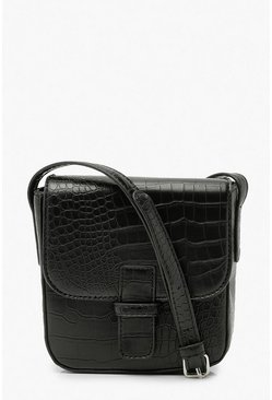 Black Croc Cross Body Messenger Bag