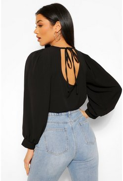 Black Woven Tie Back Long Sleeve Blouse