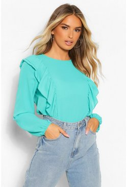 Teal green Woven Ruffle Balloon Sleeve Blouse