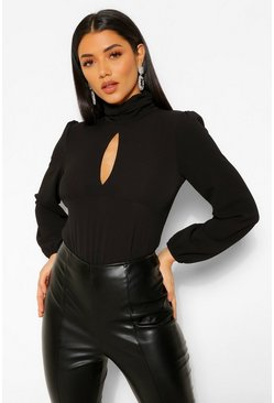Black Woven High Neck Split Front Bodysuit