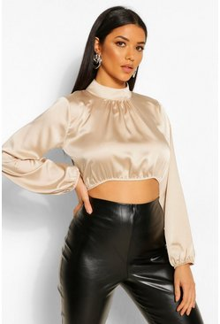 Cream white Satin High Neck Balloon Sleeve Crop Blouse