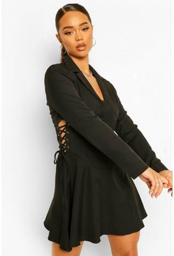 Black Lace Up Corset Waist Blazer Dress