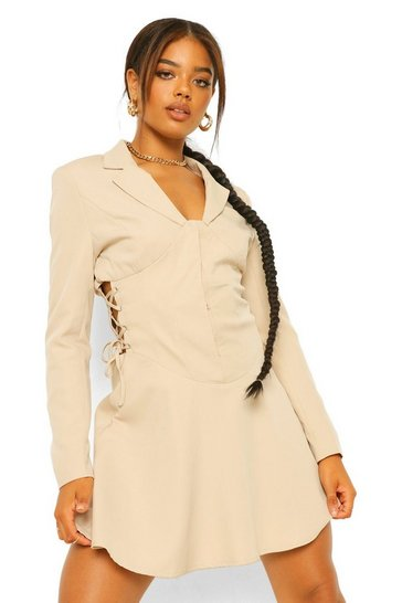 Stone beige Lace Up Corset Waist Blazer Dress