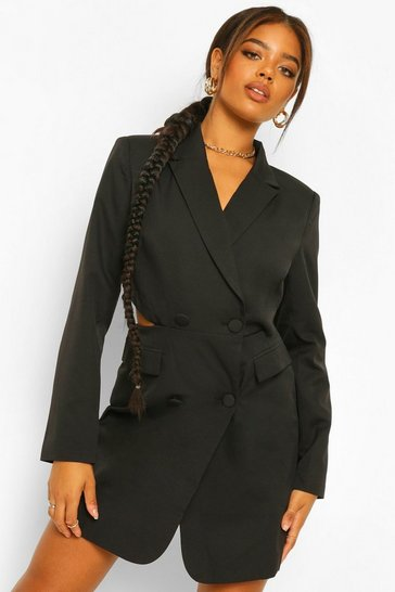 Black Tailored Cut Out Back Blazer Dress