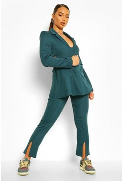 Teal green Tailored Split Front Skinny Pants